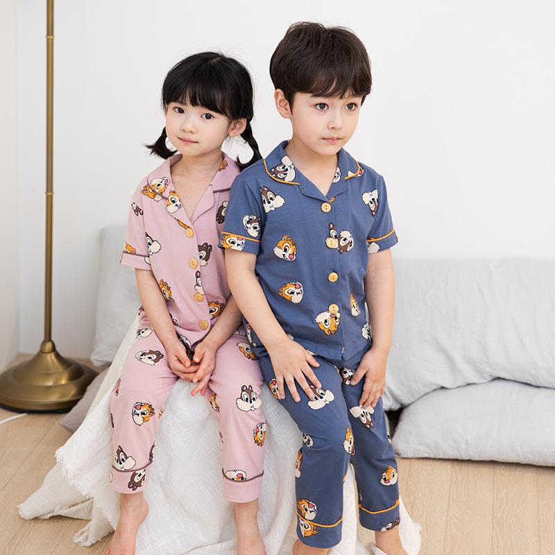 儿童睡衣夏季薄款纯棉男童家居服套装中小童夏天小男孩短袖空调服