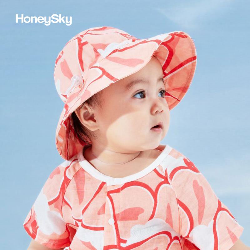 honeysky新生婴儿帽子夏季薄款儿童纱布渔夫太阳帽宝宝防晒遮阳帽