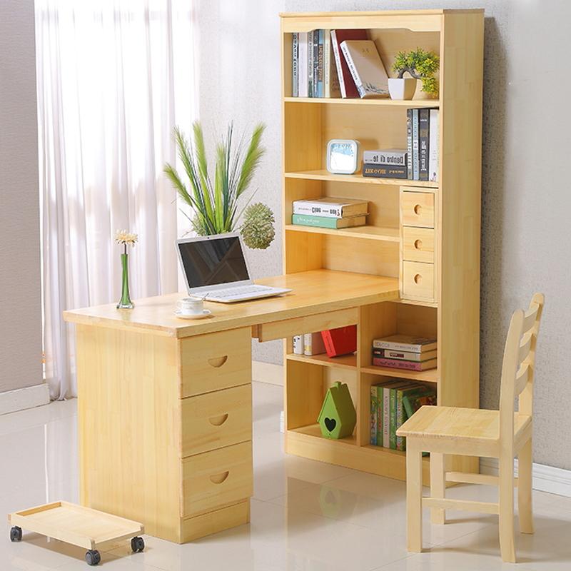 實木書桌書架組合兒童學習桌簡約學生家用松木轉角臺式電腦桌書柜
