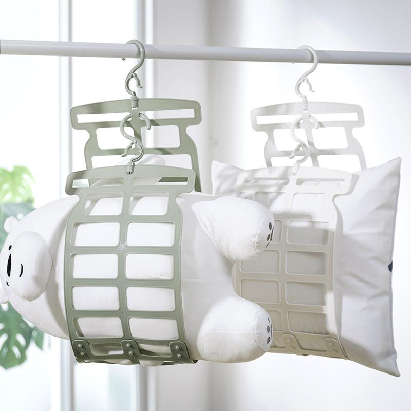 满17元可用3元优惠券纳川双挂钩折叠晾衣晒枕架2个装