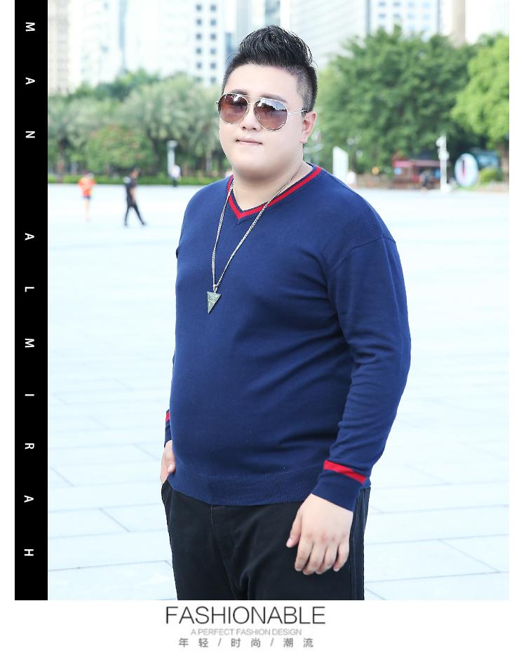 Tide thương hiệu quần áo nam size lớn cộng với phân bón để tăng áo len dài tay áo thun rộng cổ chữ V tương phản - Kéo qua