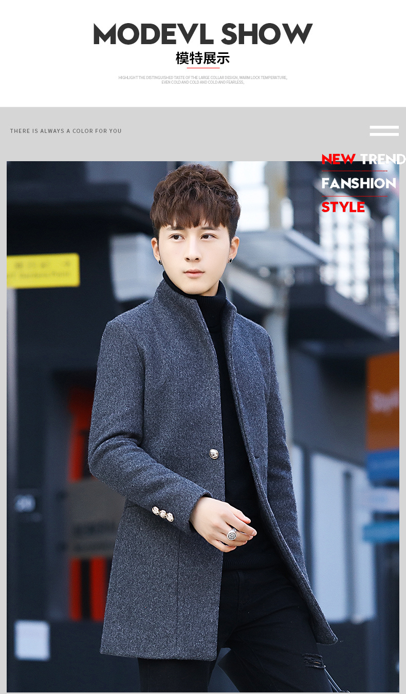 Winter 2020 new trend fashion men's hair coat in the long handsome male youth cotton coat 50 Online shopping Bangladesh