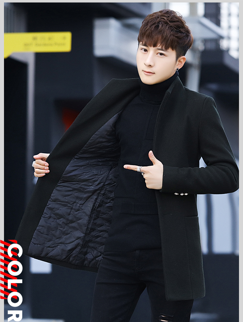 Winter 2020 new trend fashion men's hair coat in the long handsome male youth cotton coat 63 Online shopping Bangladesh