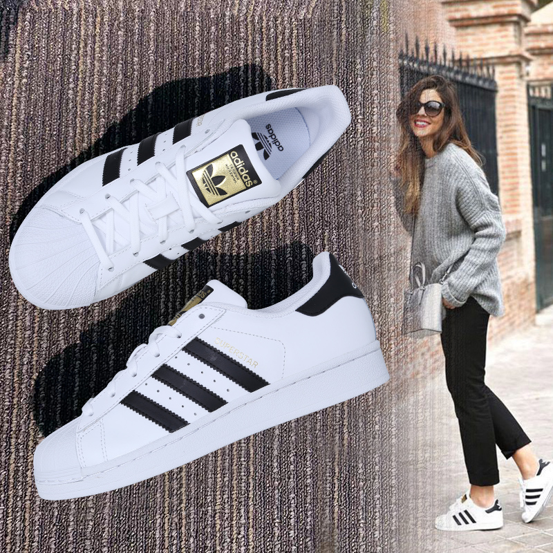 Adidas men's shoes women's clover sneakers women's shoes Superstar gold label women shell head official website white shoes