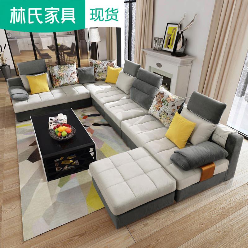 Bắc âu vải hiện đại sofa hình chữ U corner chaise lớn có kích thước Châu Âu 1 + 2 + 3 kết hợp đồ nội thất 996