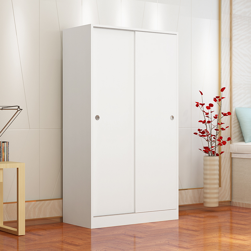 Simple And Modern New Solid Wood Sliding Door Wardrobe Storage