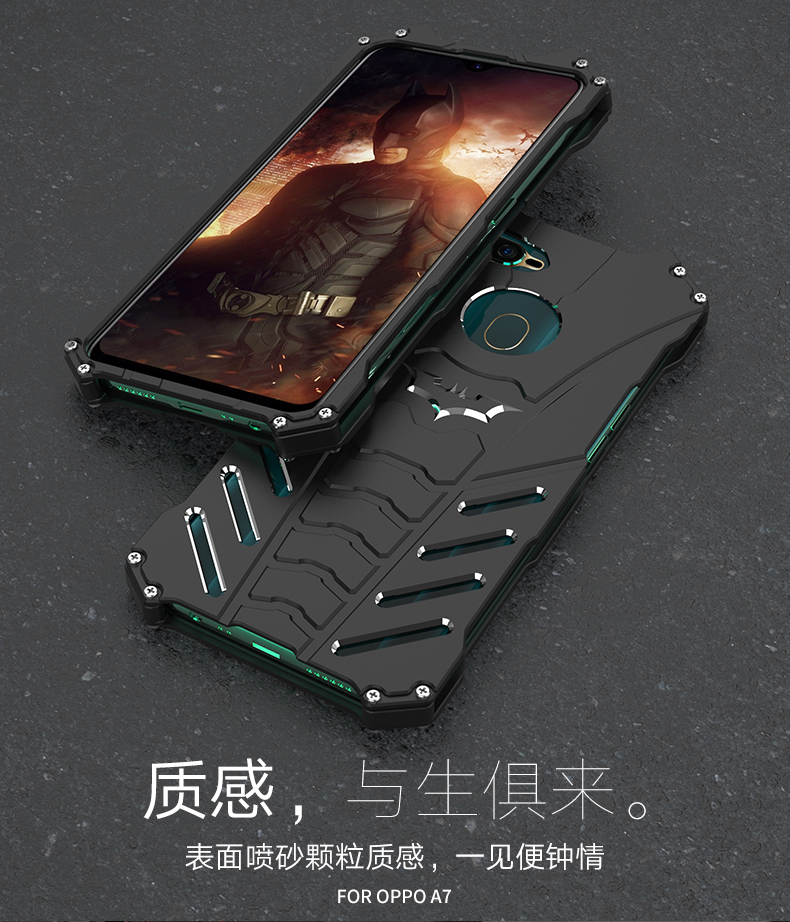 R-Just Batman Shockproof Aluminum Shell Metal Case with Custom Batarang Stent for OPPO A7
