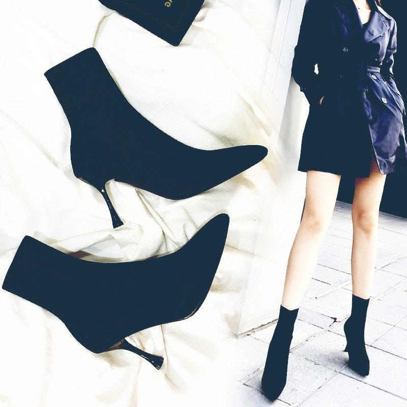 弹力袜子靴女高跟鞋靴子针织袜靴瘦瘦靴细跟中筒短靴尖头秋冬裸靴
