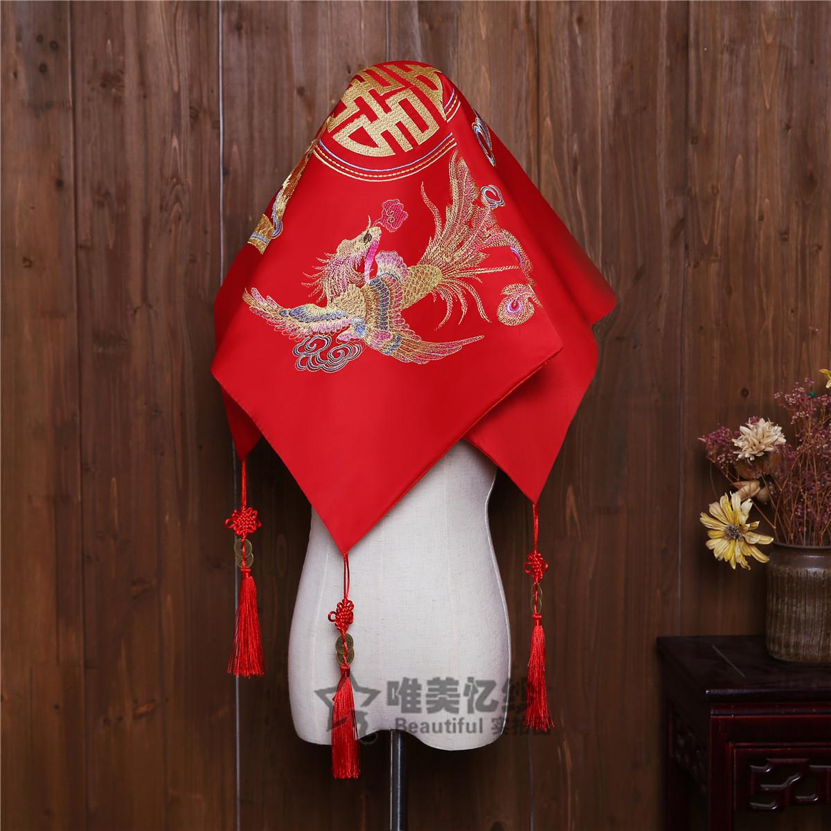Новый женщина корпус Голова китайского стиля свадебное Вышивка Дракона и Феникса свадебное насыщенно-красный корпус Вуаль 2018 новая коллекция Satin винтаж