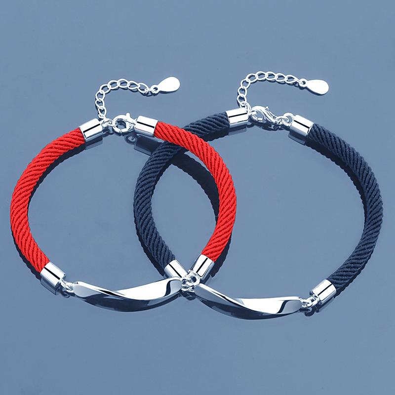 纯银情侣手链一对韩版学生首饰简约男女本命年编制红绳可刻字礼物