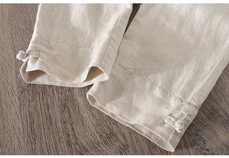 Gió của trung quốc khóa mùa hè linen chín quần người đàn ông lỏng thẳng thường cotton linen retro hậu cung quần phần mỏng
