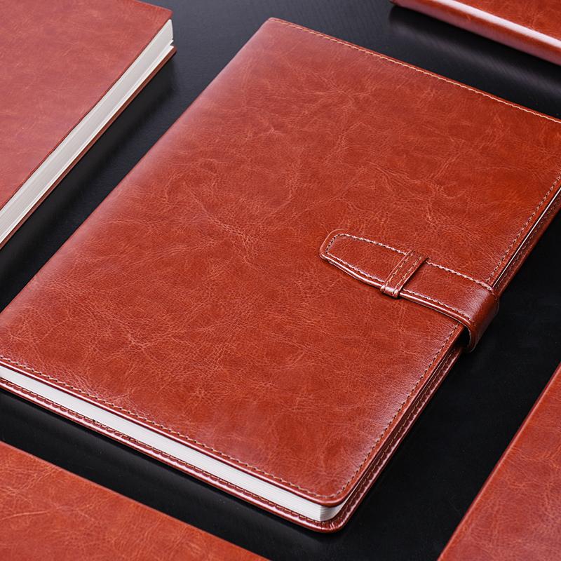 得力商务办公皮面笔记本插扣通用A5记事本黑棕蓝红色pu学生B5本子