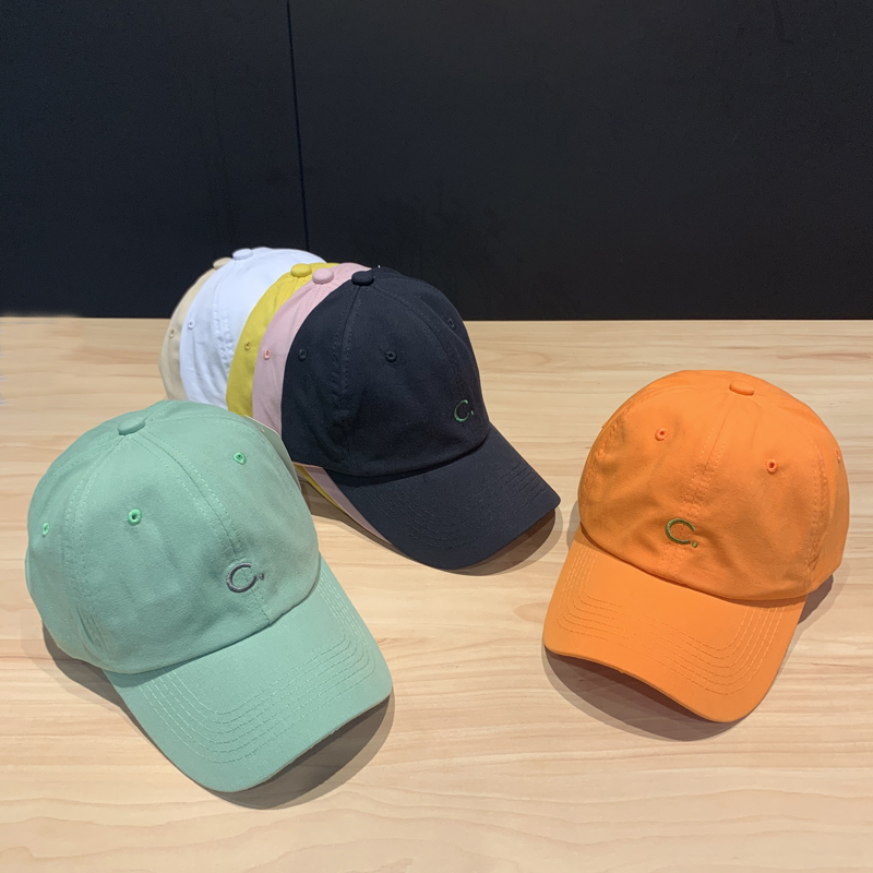 Hat women's spring and summer new simple C-letter embroidered baseball cap men's big head around casual hundred with a soft top cap