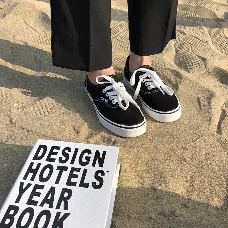 墨染·許劉芒 帆布鞋ulzzang夏季chic韓國經典款情侶款低幫滑板女小白鞋