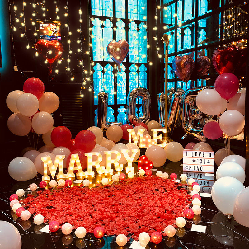 KTV marriage proposal layout creative supplies indoor room romantic confession surprise artifact scene props package lighting