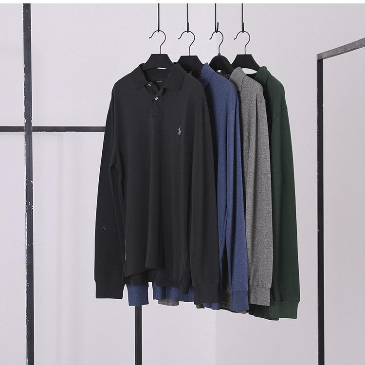 Biểu tượng cảm xúc ● Phong cách Mỹ ● Áo sơ mi nam công sở giản dị áo phông Áo phông dài tay nhiều màu POLO - Polo