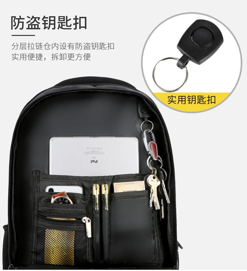 卡帝乐鳄鱼背包男2020新款双肩包牛津布电脑包旅行书包商务轻便女商品详情图