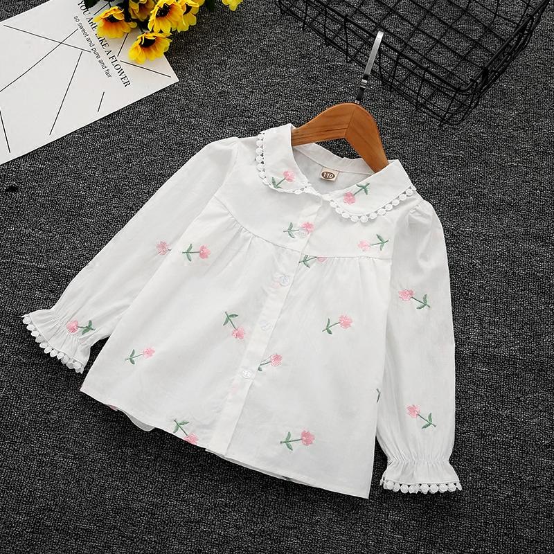 2018新款童装女童衬衫中小童韩版花朵刺绣衬衣宝宝百搭棉长袖上衣