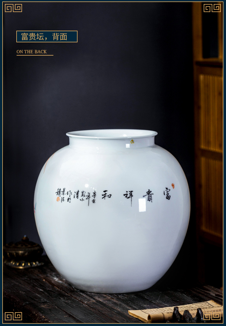 Jingdezhen ceramic vase furnishing articles rich ancient frame masters large antique hand - made Chinese style household, and the sitting room porch decoration