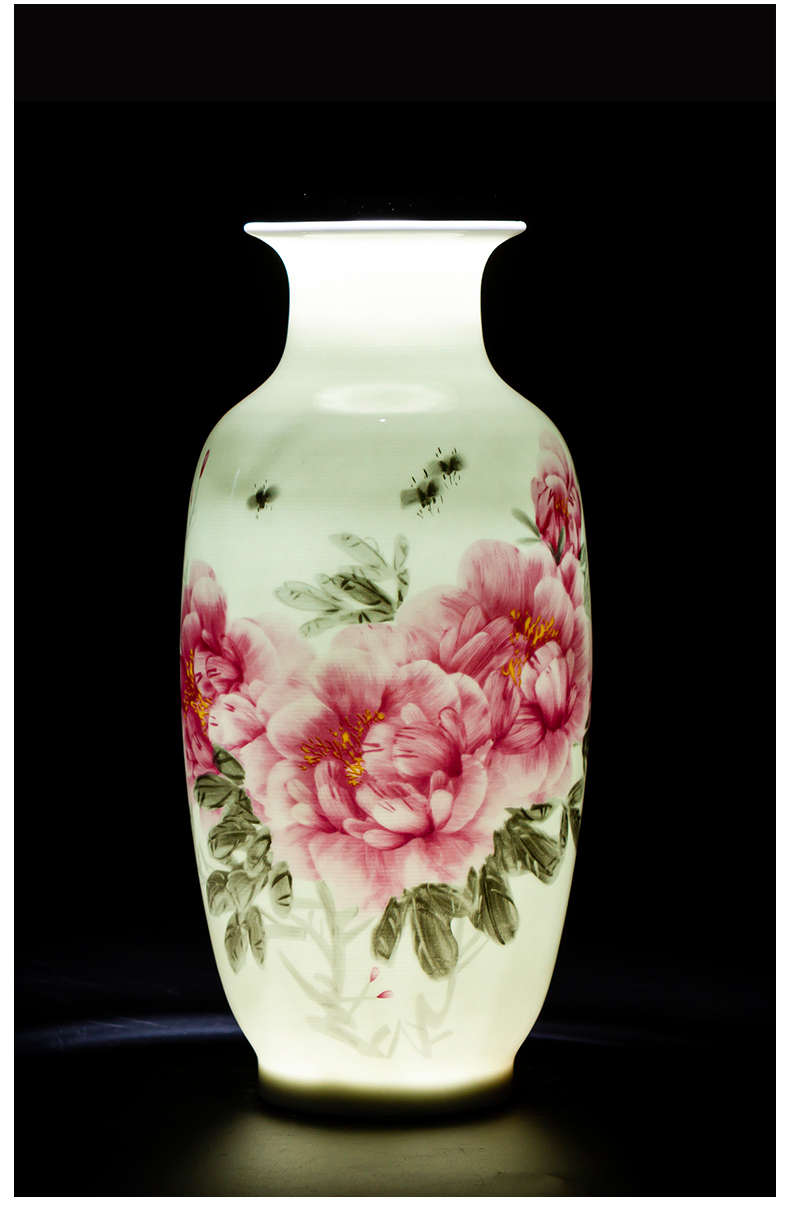 Jingdezhen ceramic vase furnishing articles of new Chinese style restoring ancient ways is thin body sitting room that occupy the home rich ancient frame flower arranging decoration arts and crafts