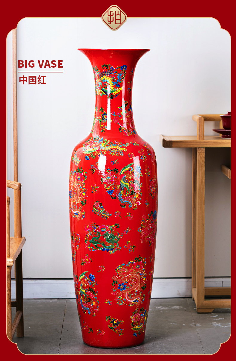Jingdezhen ceramic big vase large archaize floor furnishing articles of Chinese style Chinese red sitting room hotel lobby decoration