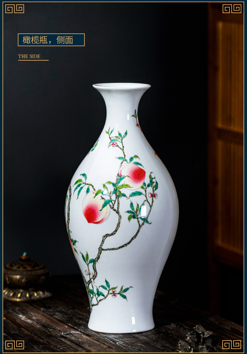 Jingdezhen ceramic vase furnishing articles large Chinese antique hand - made nine peach rich ancient frame sitting room porch decorate household