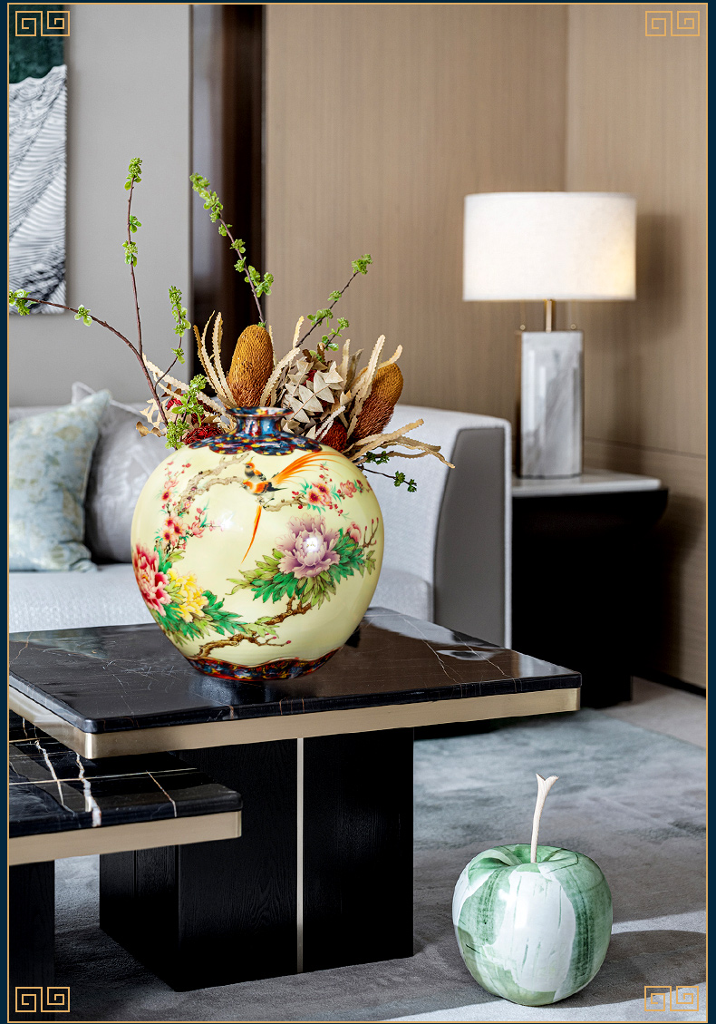 Jingdezhen ceramic vase furnishing articles by hand - made rich ancient frame light the key-2 luxury of new Chinese style household, the sitting room porch decoration