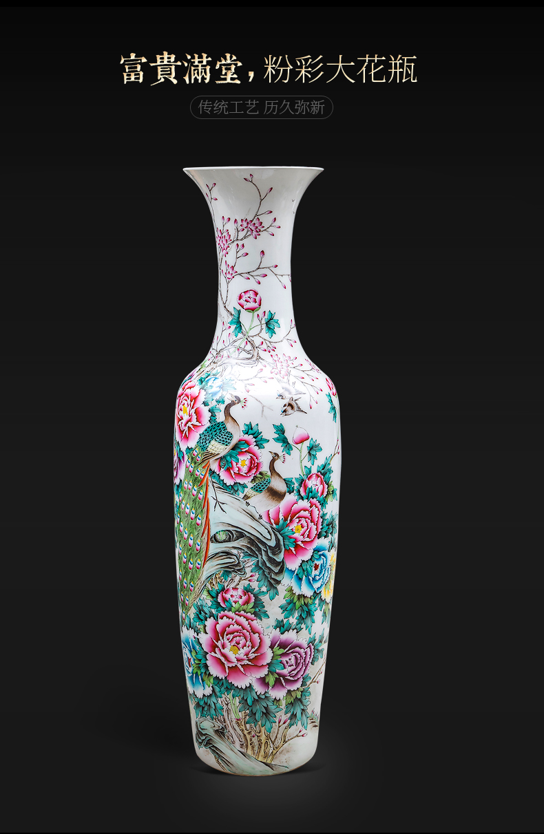 Jingdezhen landing big vase large hand - made pastel six cranes with spring sitting room home furnishing articles hotel opening gifts