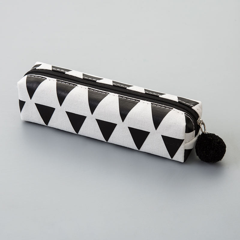Square pencil case - black triangle