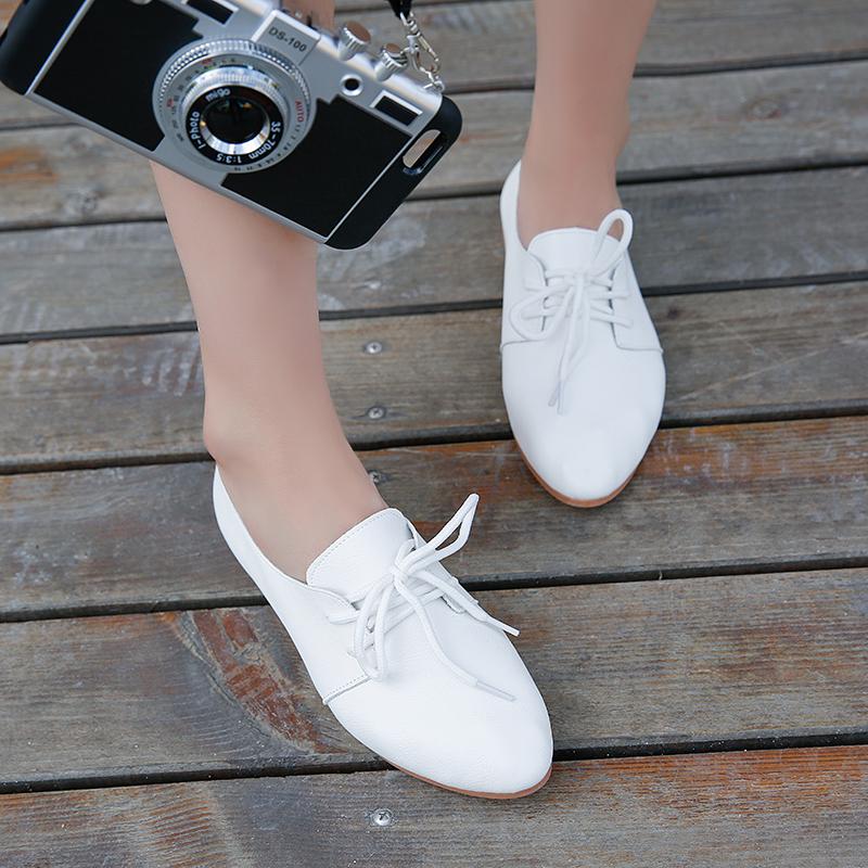 50韩版小白鞋百搭夏女鞋系带小皮鞋牛津鞋休闲鞋透气平底平跟单鞋