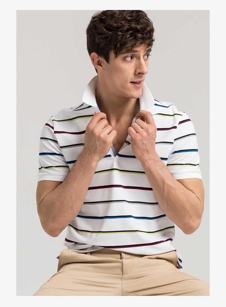 GYgoldlion Jin Lilai GY quần áo ngắn tay polo áo sơ mi nam thanh niên thường sản phẩm mới triều sọc T-Shirt ve áo áo khoác polo