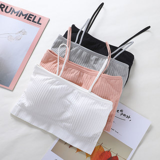 Sling wrapped chest female short sexy small vest with chest pad tube top anti-failure base sports underwear bra beautiful back