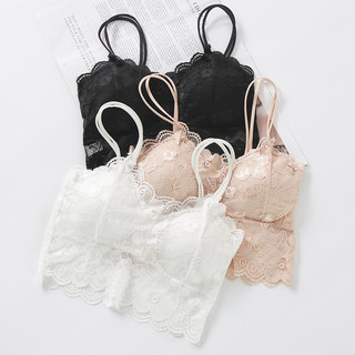 Summer wrapped chest underwear straps lace bottoming small vest short double shoulder strap anti-light tube top female student bra