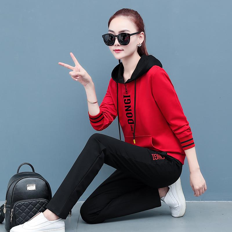 款套装女2020年春季运动休闲套装女女装宽松时尚休闲潮流新