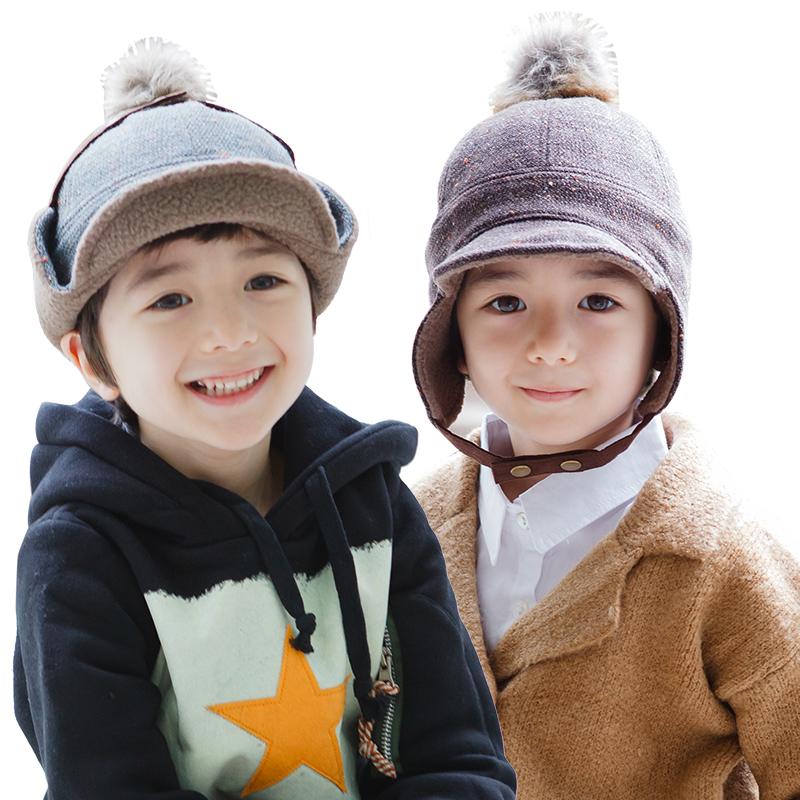 韩版2017儿童护耳帽子男童保暖鸭舌帽防风小孩宝宝套头帽秋冬款潮