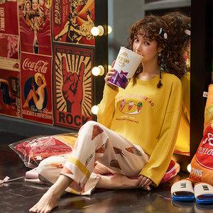 睡衣女纯棉春秋季长袖长裤2019新款少女韩版可外穿家居服套装女款