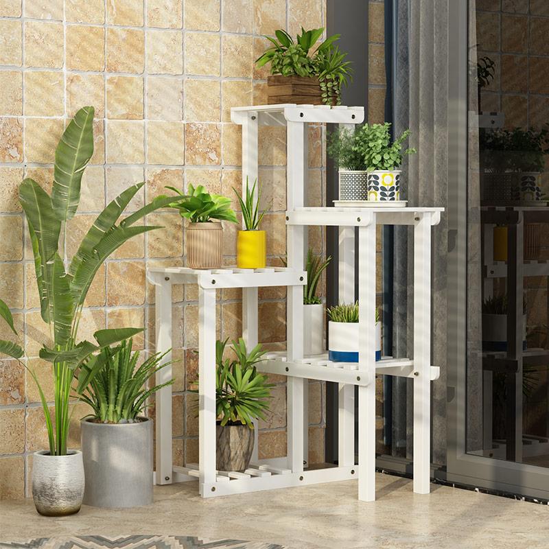 转角花架实木客厅阳台墙角落地式花架子多层室内特价省空间花盆架-给呗网