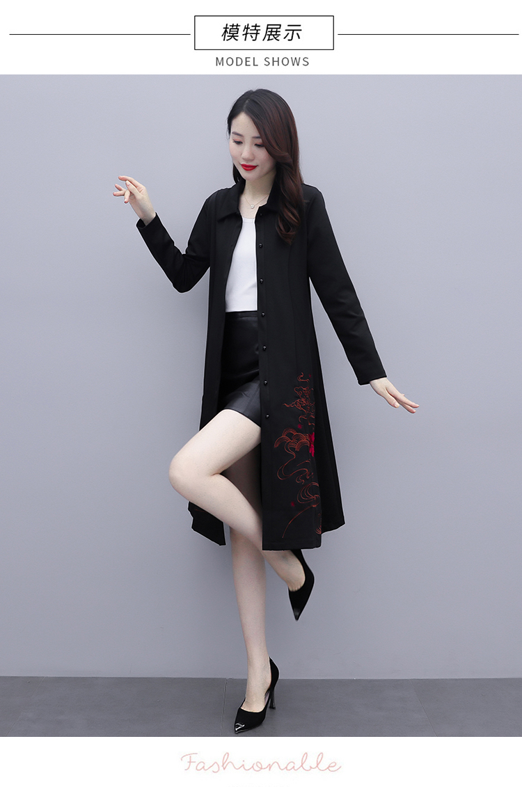 Black large-size embroidered windcoat female medium-length autumn/winter 2020 new foreign air age-reducing thin temperament coat woman 46 Online shopping Bangladesh