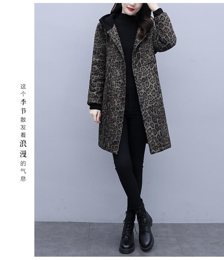 Autumn and winter leopard print windcoat women 2020 new medium-length small temperament thin plus velvet thick coat girl 59 Online shopping Bangladesh