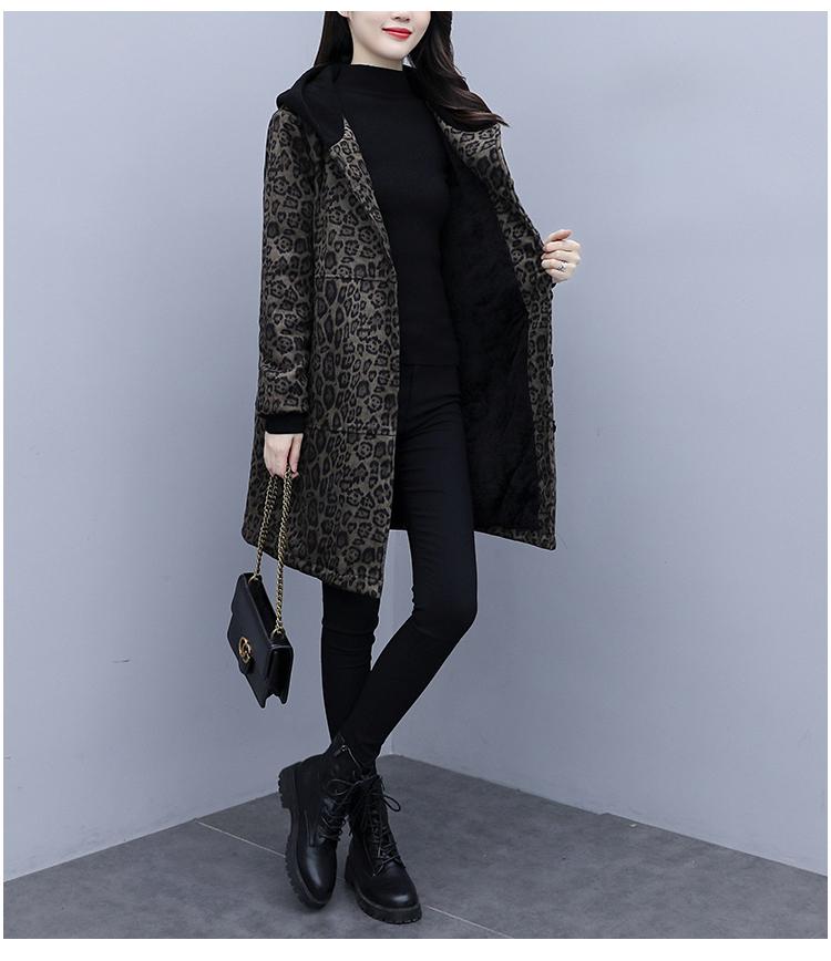 Autumn and winter leopard print windcoat women 2020 new medium-length small temperament thin plus velvet thick coat girl 60 Online shopping Bangladesh