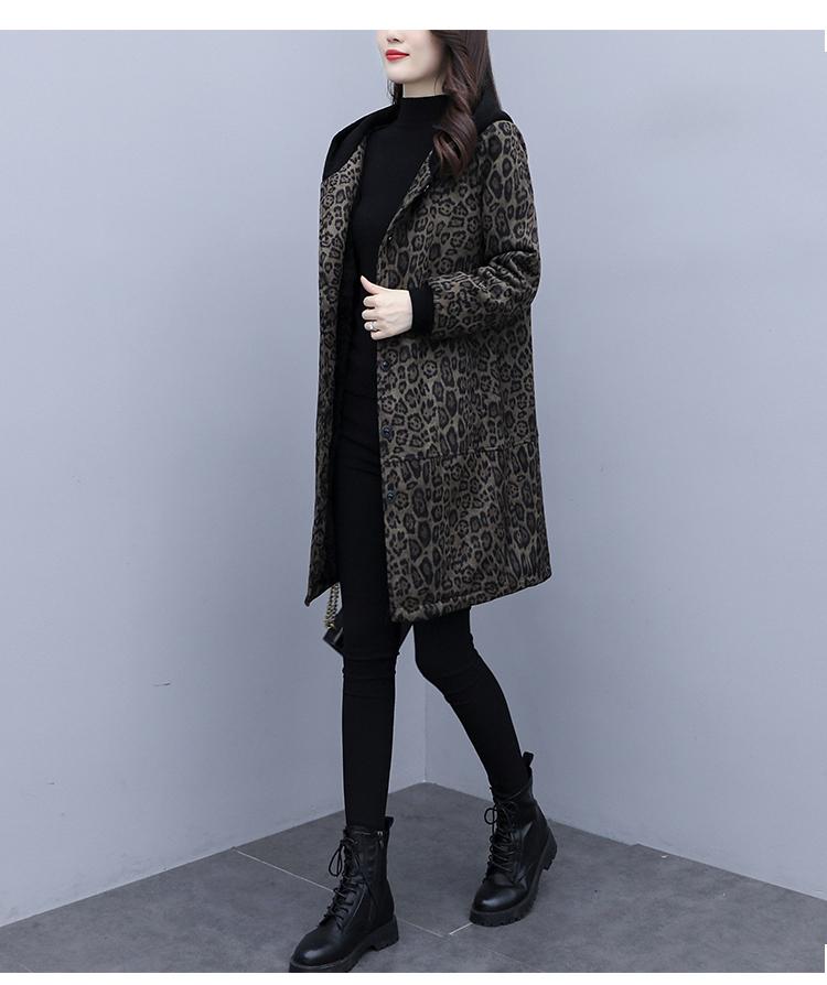 Autumn and winter leopard print windcoat women 2020 new medium-length small temperament thin plus velvet thick coat girl 58 Online shopping Bangladesh
