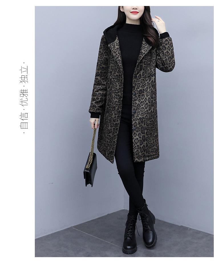 Autumn and winter leopard print windcoat women 2020 new medium-length small temperament thin plus velvet thick coat girl 57 Online shopping Bangladesh