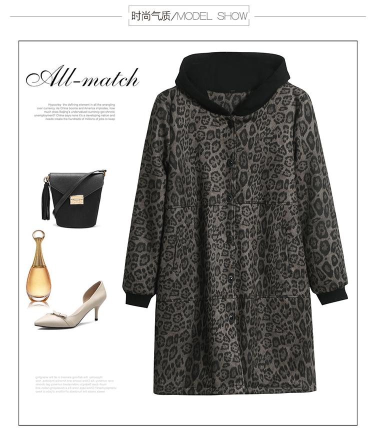 Autumn and winter leopard print windcoat women 2020 new medium-length small temperament thin plus velvet thick coat girl 46 Online shopping Bangladesh