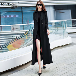 Labiti 2020 popular windbreaker women's autumn new style black temperament fashionable atmosphere long over the knee coat 501