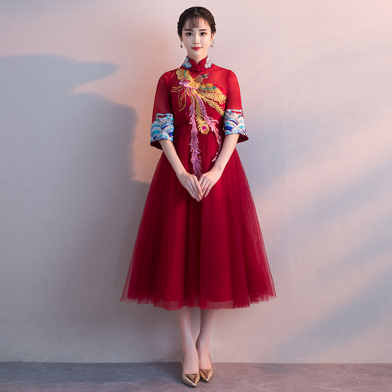 bdbd5ec48 ... Show Wo clothes pregnant women toast clothing bride 2019 new spring red  Chinese wedding dress female