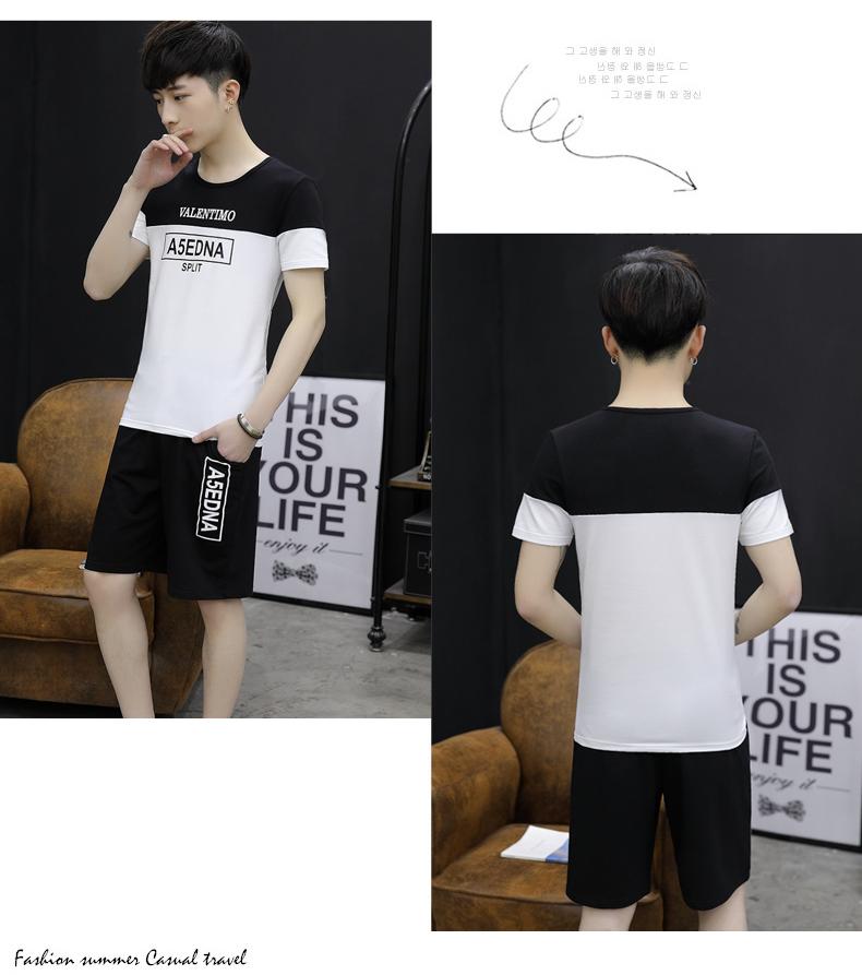 Của nam giới phù hợp với mùa hè 2018 xu hướng mới Hàn Quốc giản dị mùa hè đẹp trai quần áo một tập hợp những người đàn ông ngắn tay t-shirt
