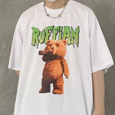 Street hip-hop fashion tide card printing loose INS Teddy Bear lazy wild men and women short-sleeved T-shirt tide