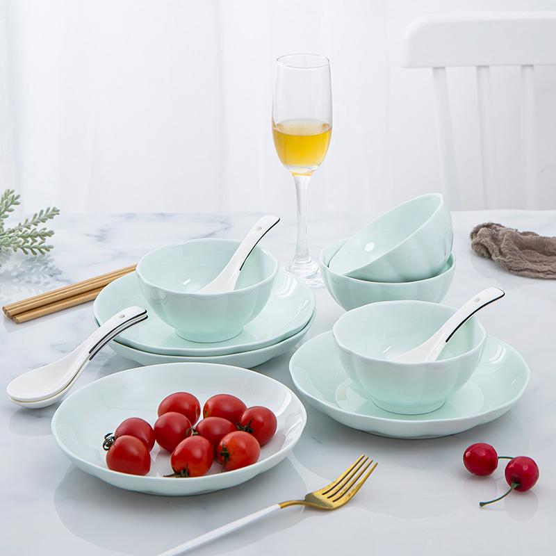 无毒无铅:16件套 虾选 恩益 南瓜青系列 北欧陶瓷餐具
