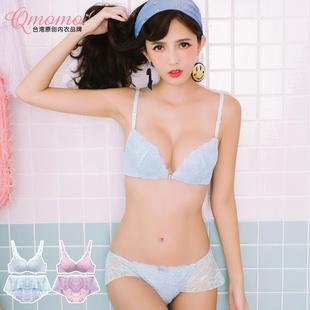 【Qmomo】蕾丝前扣聚拢文胸+内裤套装