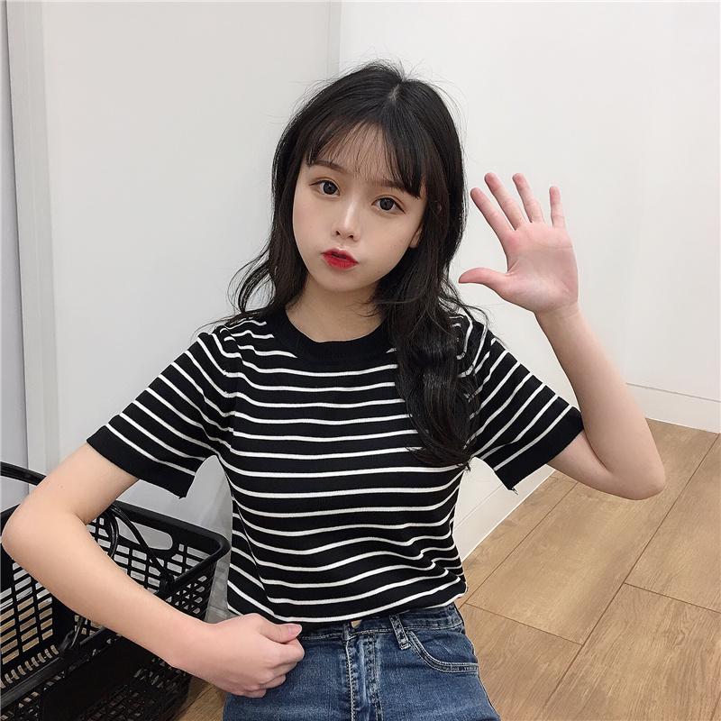 短袖t恤女夏装韩版学生修身显瘦条纹针织衫ins潮超火的上衣服体恤